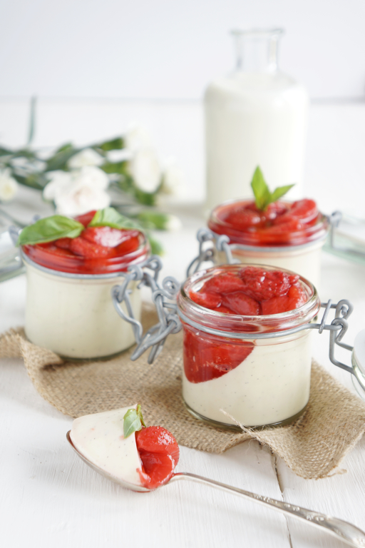 Basil Panna Cotta & Strawberries in Prosecco Syrup__spoon_Françoise ...
