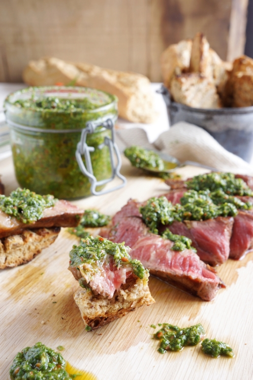 Chimichurri with sirloin steak and toasted bread