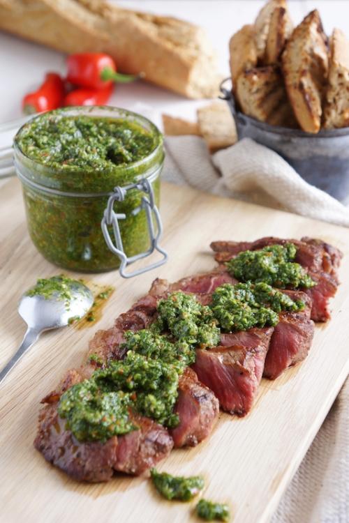 Sirloin steak with chimichurri