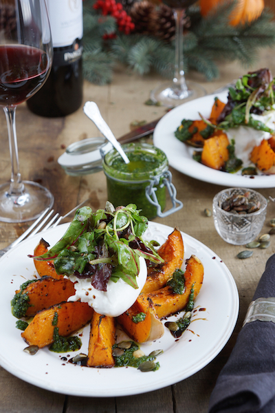 Roasted Butternut Squash with Burrata and Basil oil 1