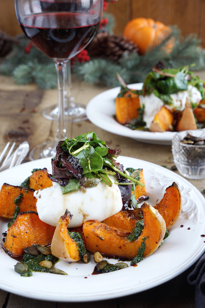 Roasted Butternut Squash with Burrata and Basil oil