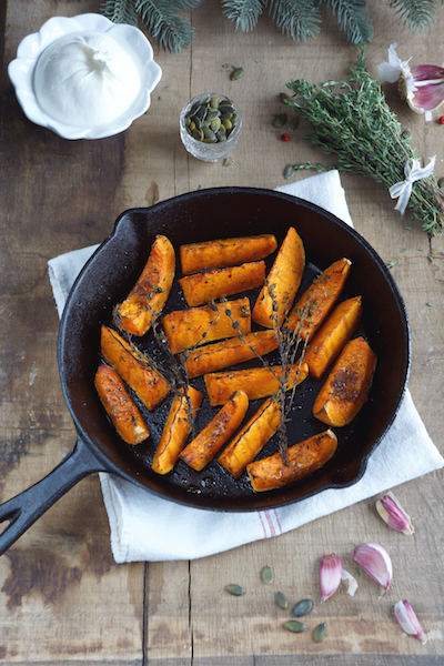 Roasted Butternut Squash with Burrata and Basil oil - skillet baked