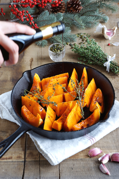 Roasted Butternut Squash with Burrata and Basil Oil - skillet unbaked