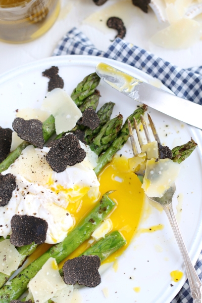 Grilled Asparagus, poached egg, Parmigiano and truffle